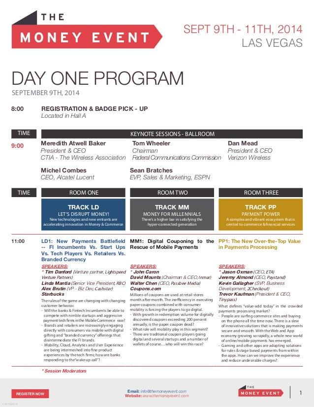 The Money Event Agenda – Event Agenda