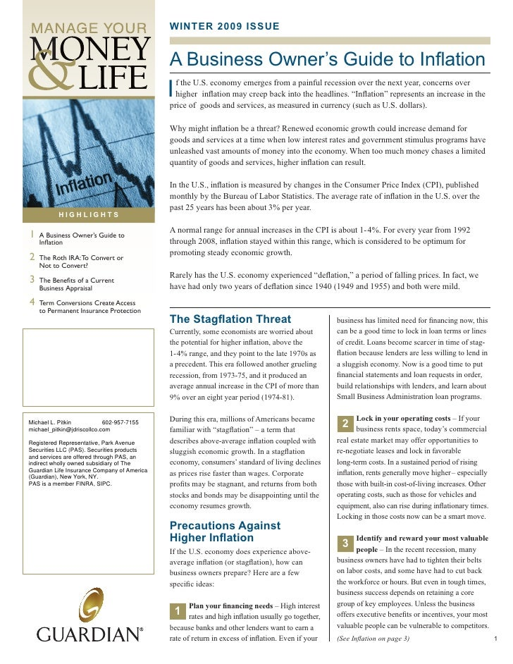 WINTER 2009 ISSUE                                                A Business Owner's Guide to Inflation                    ...
