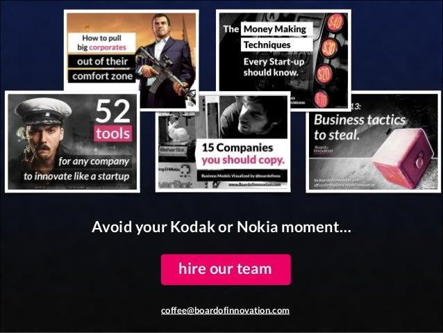 Avoid your Kodak or Nokia moment… hire our team coffee@boardofinnovation.com