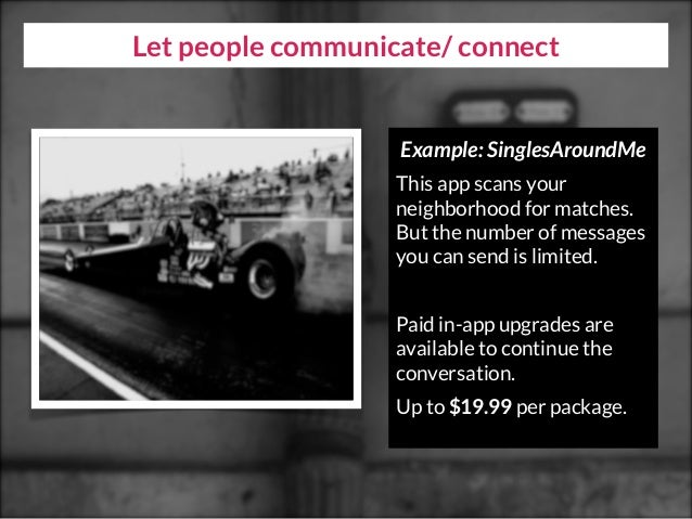Let people communicate/ connect Example: SinglesAroundMe This app scans your neighborhood for matches. But the number of m...