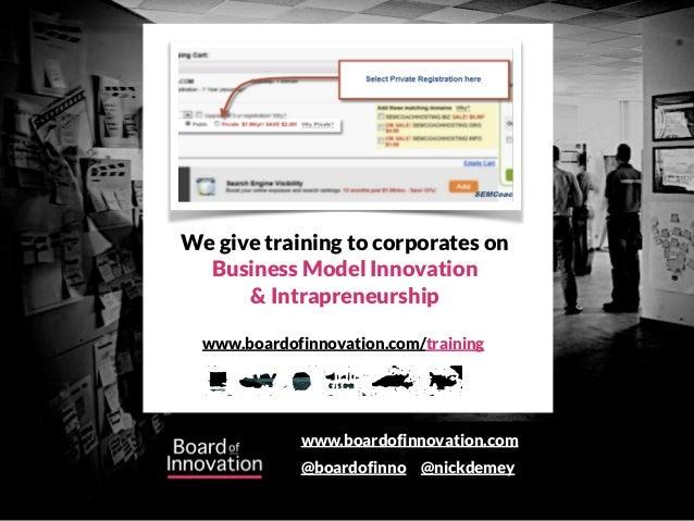 www.boardofinnovation.com @boardofinno @nickdemey www.boardofinnovation.com/training We give training to corporates on Bus...