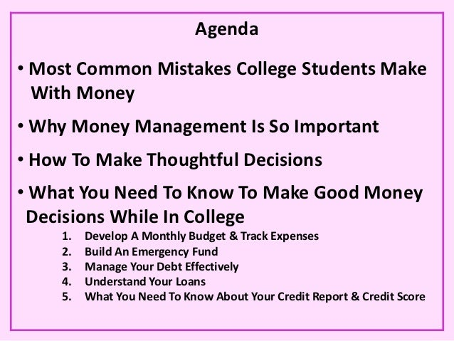 money management for college students making money smart decisions