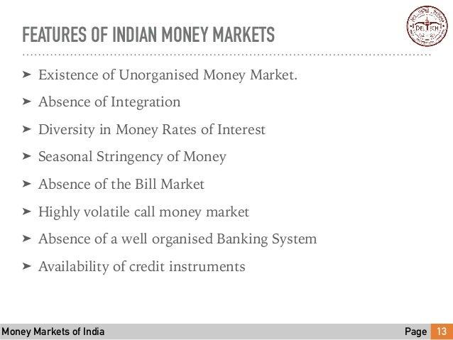 features of money market