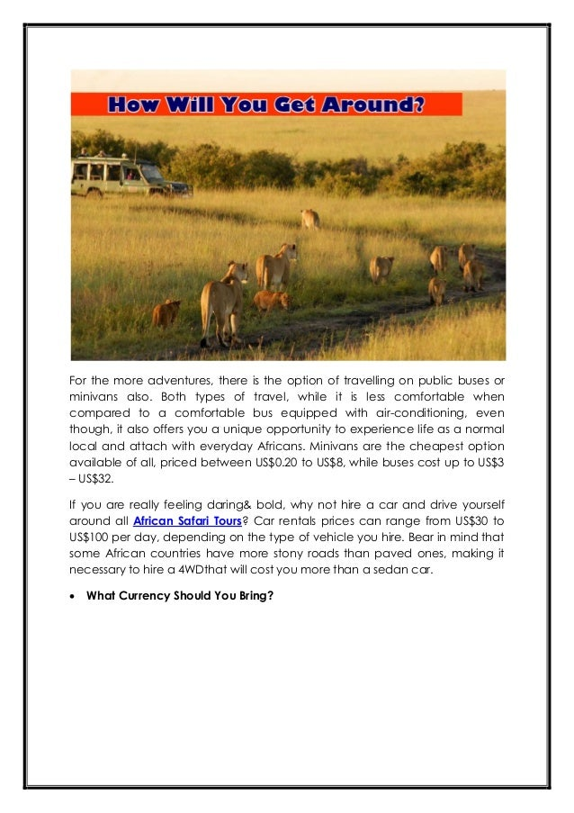 Money matters how to make your africa safari tours budget friendly