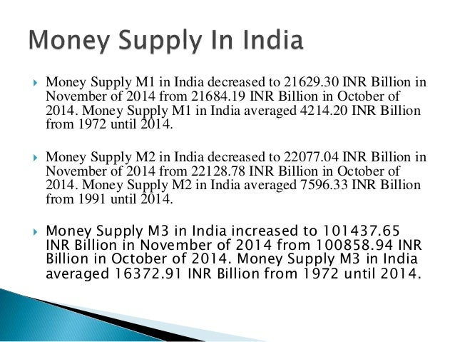 what is m1 m2 m3 money supply in india