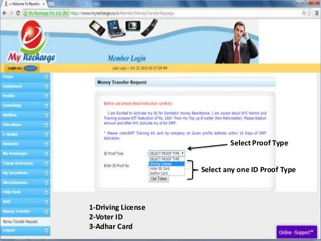 Select Proof Type Select any one ID Proof Type 1-Driving License 2-Voter ID 3-Adhar Card