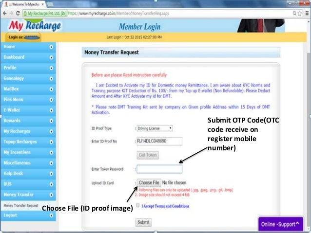 Submit OTP Code(OTC code receive on register mobile number) Choose File (ID proof image)