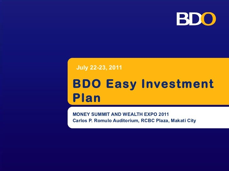 Easy investment plan of bdo things that are highest investment 2021