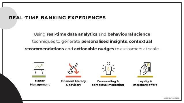 © MONEYTHOR 2021 Using real-time data analytics and behavioural science techniques to generate personalised insights, cont...