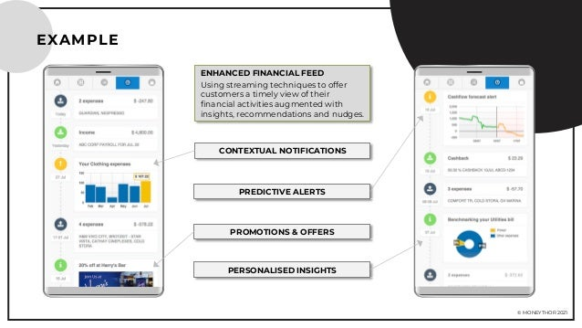 © MONEYTHOR 2021 EXAMPLE ENHANCED FINANCIAL FEED Using streaming techniques to offer customers a timely view of their fina...