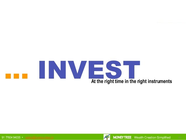 ... INVESTAt the right time in the right instruments 202091 77604 94035 • sales@money-tree.in MONEYTREE Wealth Creation Si...