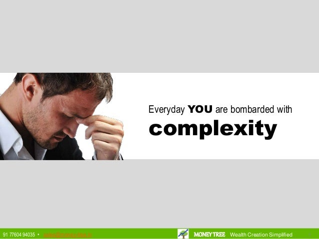 Everyday YOU are bombarded with complexity 3391 77604 94035 • sales@money-tree.in MONEYTREE Wealth Creation Simplified