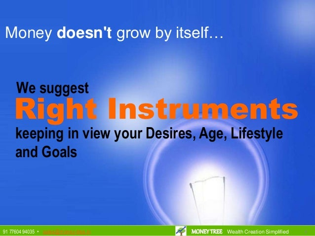Right Instruments keeping in view your Desires, Age, Lifestyle and Goals Money doesn't grow by itself… We suggest 9991 776...