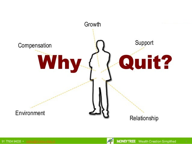 Compensation Growth Environment Support Relationship Why Quit? 4491 77604 94035 • sales@money-tree.in MONEYTREE Wealth Cre...