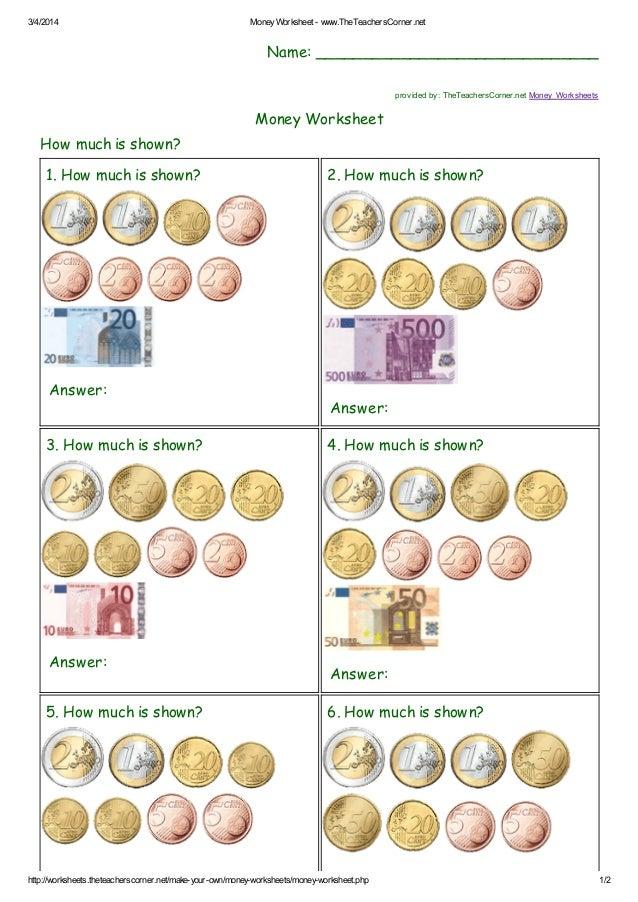 Create Your Own Money Worksheets : Money worksheet the teacherscorner