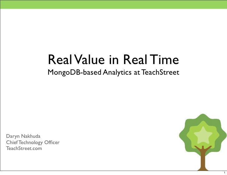 Real Value in Real Time                  MongoDB-based Analytics at TeachStreet     Daryn Nakhuda Chief Technology Officer ...