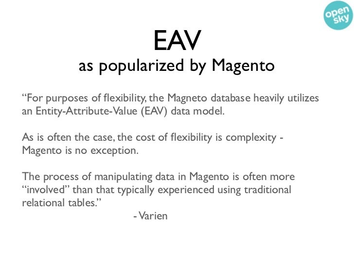 """EAV             as popularized by Magento""""For purposes of flexibility, the Magneto database heavily utilizesan Entity-Attri..."""