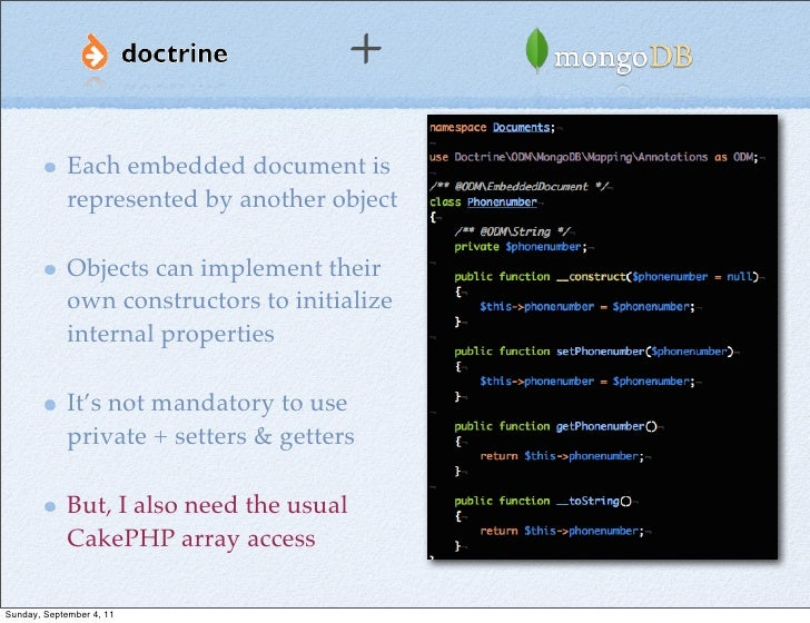 +             Each embedded document is             represented by another object             Objects can implement their ...