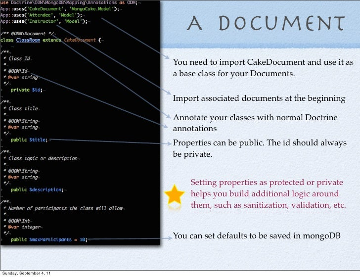 A Document                          You need to import CakeDocument and use it as                          a base class fo...