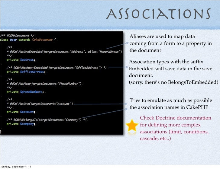 Associations                            Aliases are used to map data                            coming from a form to a pr...