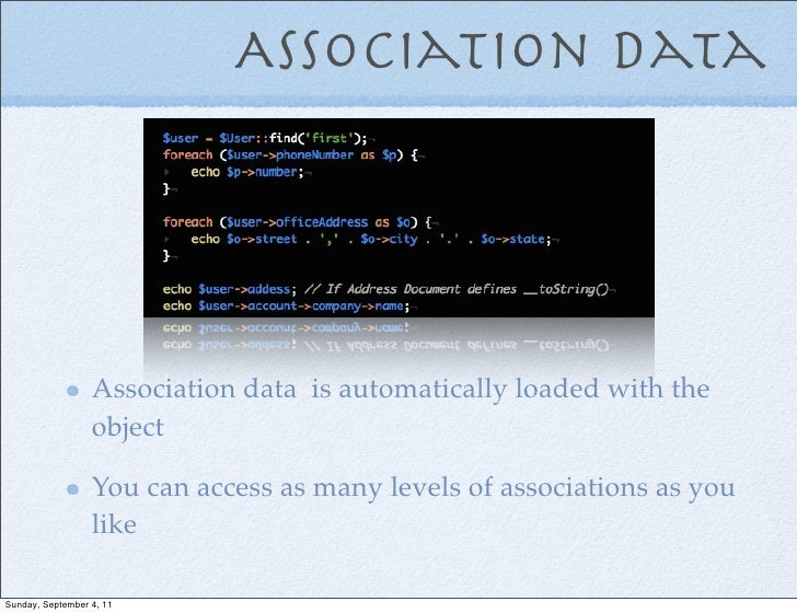 Association data                  Association data is automatically loaded with the                  object               ...