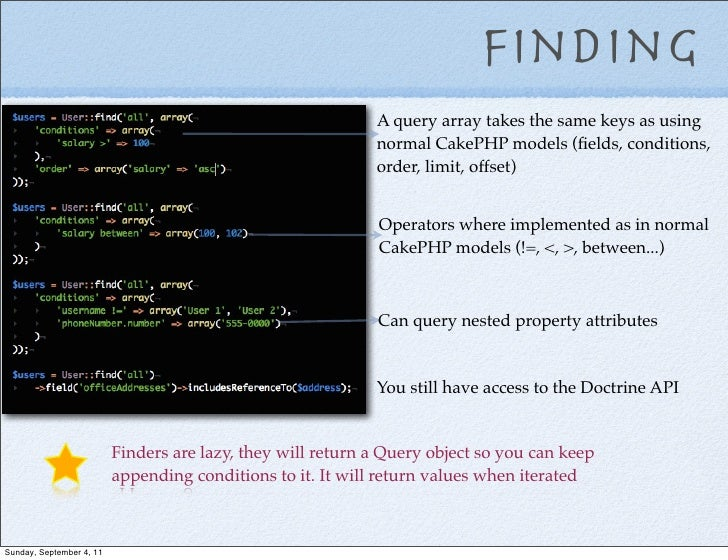 Finding                                                             A query array takes the same keys as using            ...