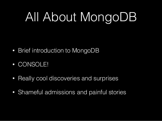 Mongodb and you part i for Mongodb consul