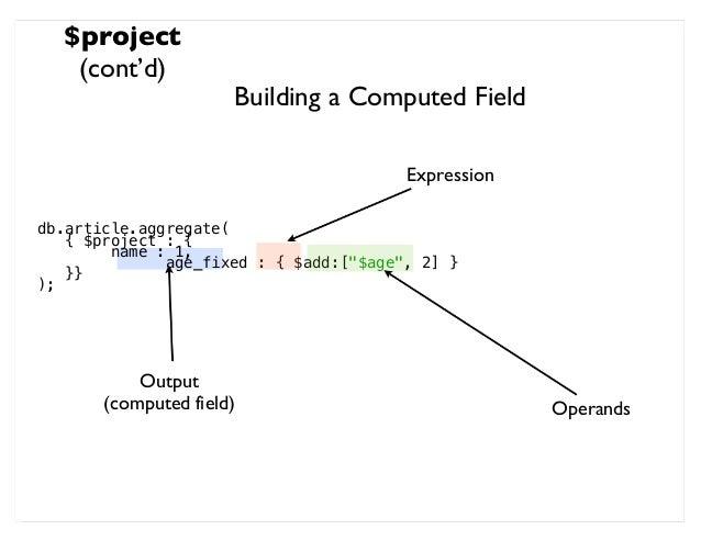 mongodb aggregate project