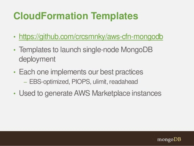 Mongodb and aws integrations for Cloudformation template generator