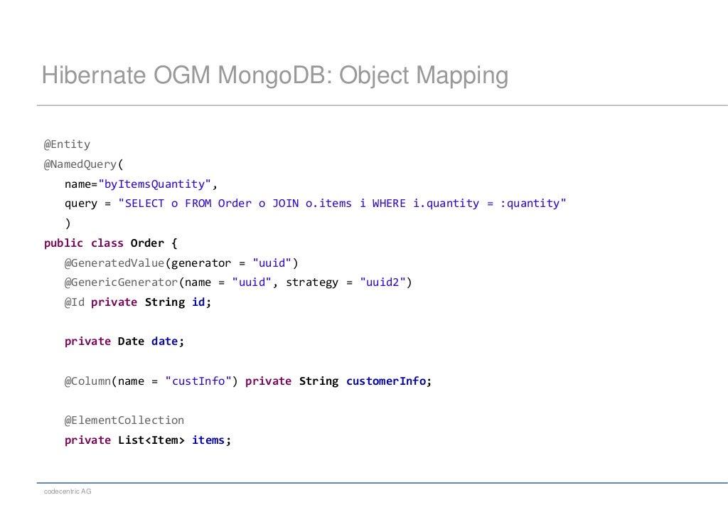 Hibernate OGM MongoDB: Object Mapping