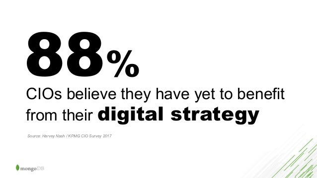 88% CIOs believe they have yet to benefit from their digital strategy Source: Harvey Nash / KPMG CIO Survey 2017