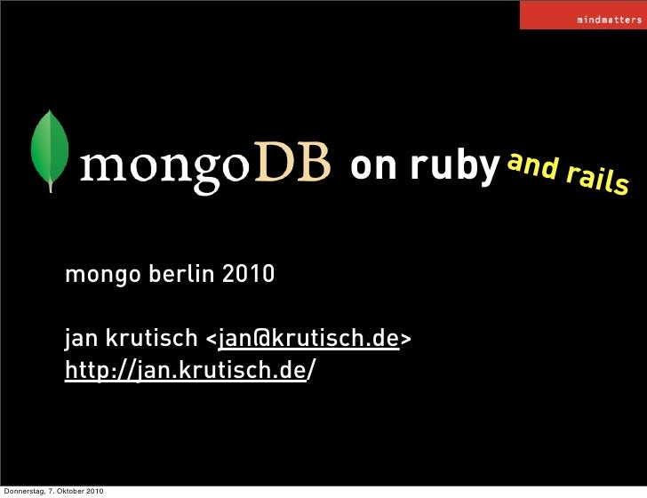 MongoDB on Rails (and Ruby)