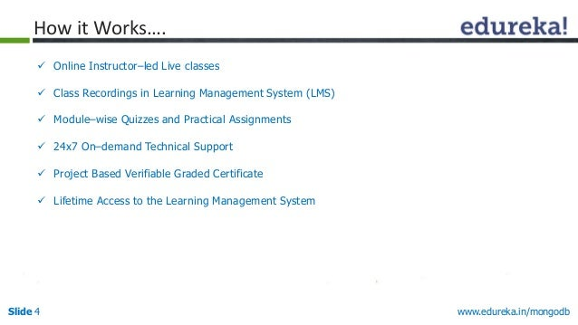 www.edureka.in/mongodbSlide 4 How it Works….  Online Instructor–led Live classes  Class Recordings in Learning Managemen...