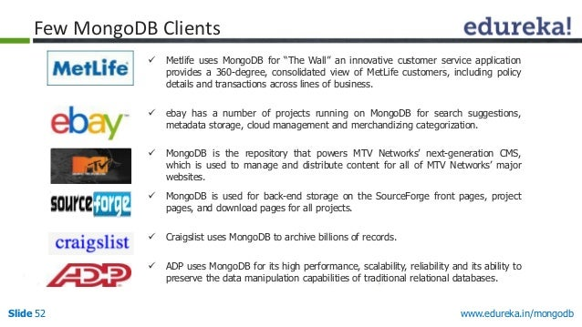 """www.edureka.in/mongodbSlide 52  Metlife uses MongoDB for """"The Wall"""" an innovative customer service application provides a..."""