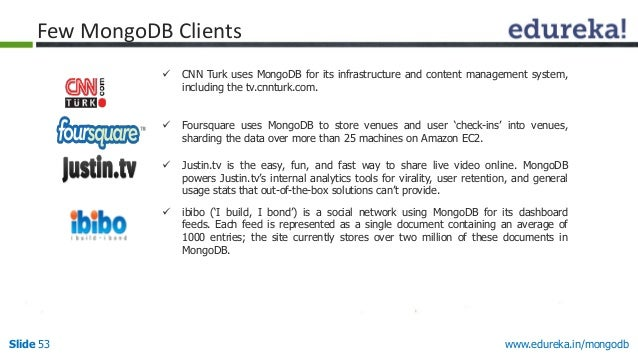 www.edureka.in/mongodbSlide 53  CNN Turk uses MongoDB for its infrastructure and content management system, including the...