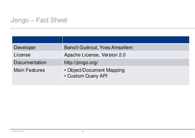 codecentric AG 38 Jongo – Fact Sheet Developer Benoît Guérout, Yves Amsellem License Apache License, Version 2.0 Documenta...