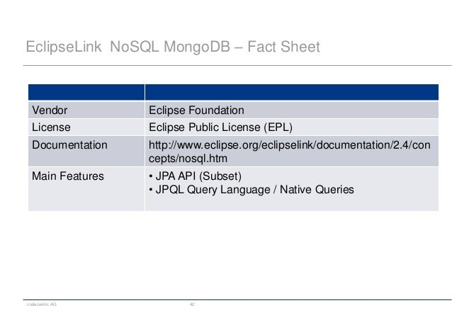 codecentric AG 42 EclipseLink NoSQL MongoDB – Fact Sheet Vendor Eclipse Foundation License Eclipse Public License (EPL) Do...