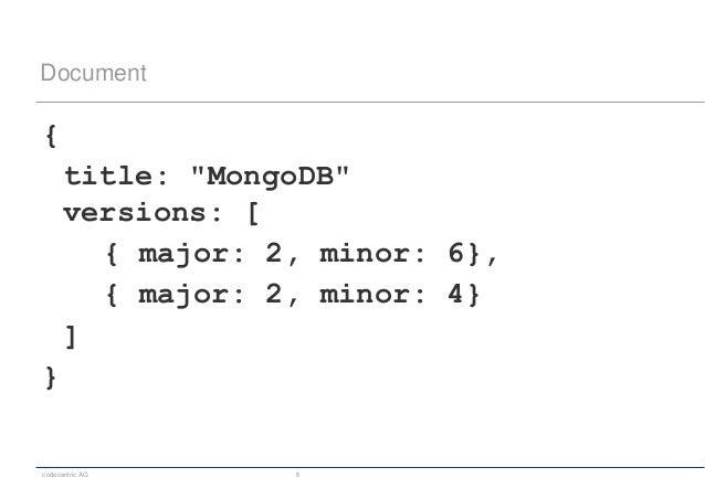 "codecentric AG 6 Document { title: ""MongoDB"" versions: [ { major: 2, minor: 6}, { major: 2, minor: 4} ] }"