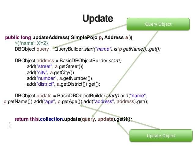 "Update public long updateSetAddress( SimplePojo p, Address a ){ //{ 'name': XYZ} DBObject query = QueryBuilder.start(""name..."