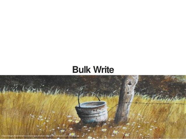 Write Bulk public boolean bulkInsert(List<SimplePojo> ps){ … //initialize a bulk write operation BulkWriteOperation bulkOp...