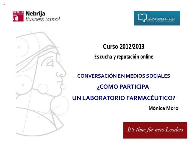 Curso 2012/2013         Escucha y reputación online CONVERSACIÓN EN MEDIOS SOCIALES           ¿CÓMO PARTICIPA ...