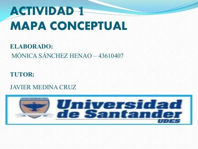 ACTIVIDAD 1 MAPA CONCEPTUAL ELABORADO: MÓNICA SÁNCHEZ HENAO – 43610407 TUTOR: JAVIER MEDINA CRUZ