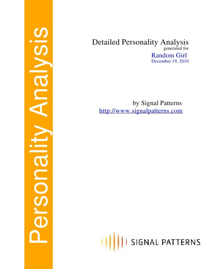 Personality Analysis   Detailed Personality Analysis                                                generated for         ...