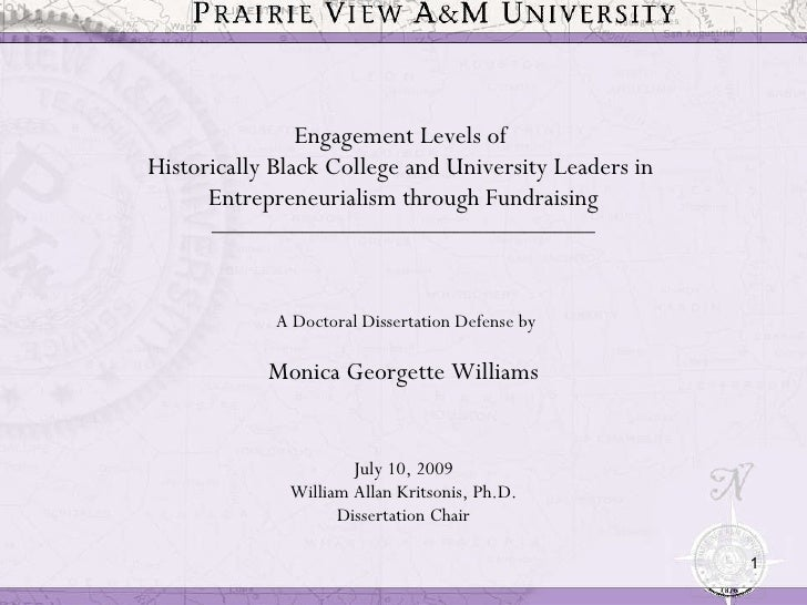 Engagement Levels of  Historically Black College and University Leaders in  Entrepreneurialism through Fundraising _______...