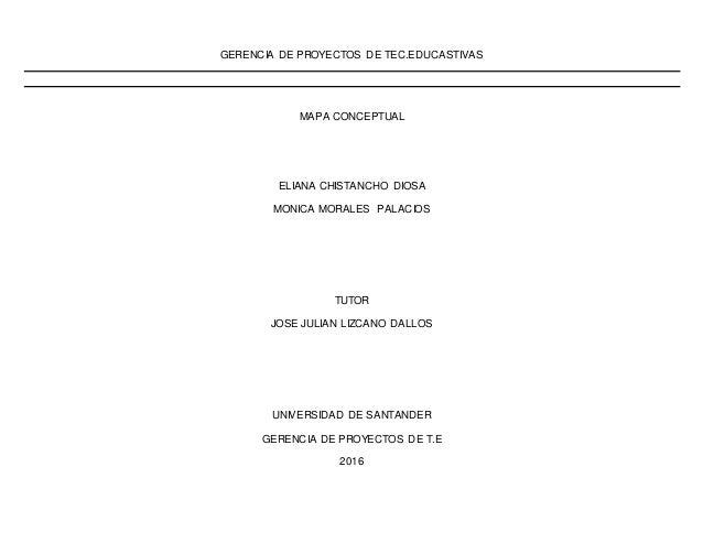 GERENCIA DE PROYECTOS DE TEC.EDUCASTIVAS MAPA CONCEPTUAL ELIANA CHISTANCHO DIOSA MONICA MORALES PALACIOS TUTOR JOSE JULIAN...