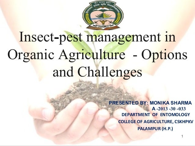 Insect-pest management in Organic Agriculture - Options and Challenges PRESENTED BY: MONIKA SHARMA A -2013 -30 -033 DEPART...