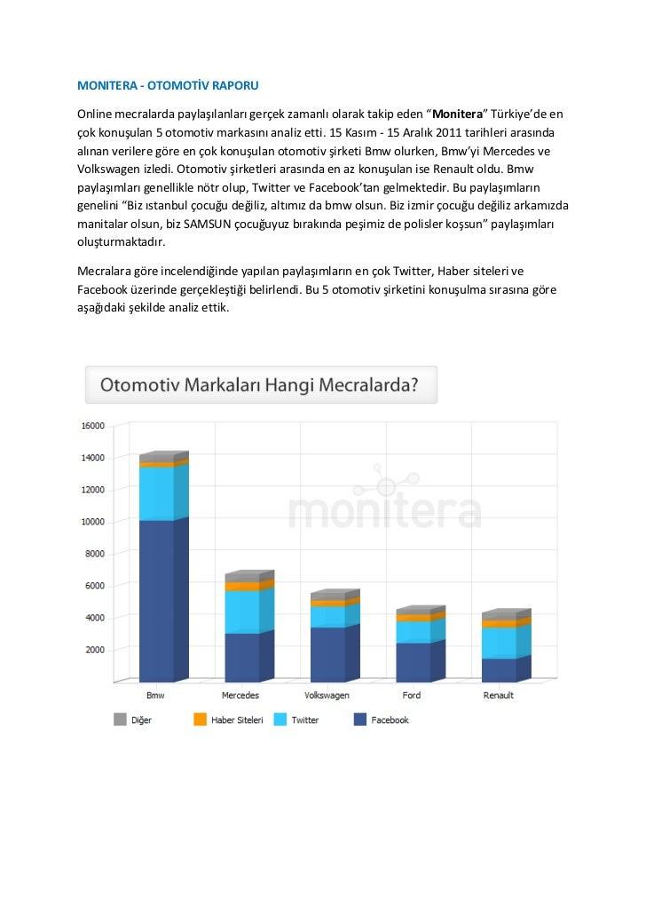 Monitera - Otomotiv Sektörü Sosyal Medya Analizi