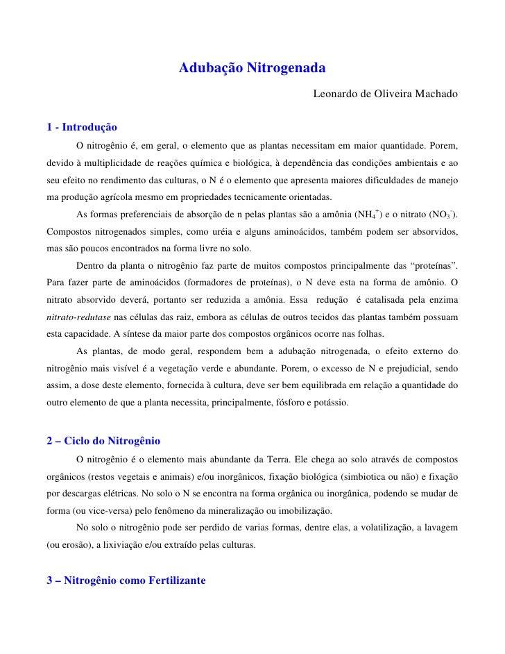Adubação Nitrogenada                                                                    Leonardo de Oliveira Machado  1 - ...