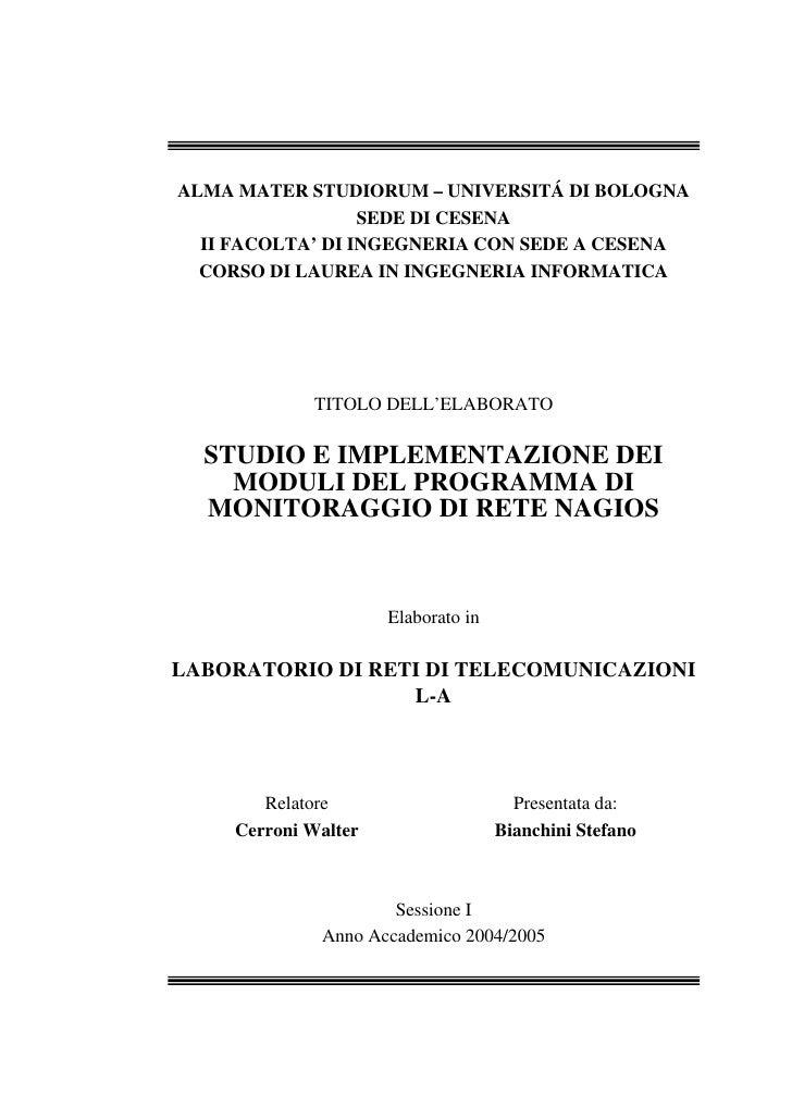 ALMA MATER STUDIORUM – UNIVERSITÁ DI BOLOGNA                   SEDE DI CESENA   II FACOLTA' DI INGEGNERIA CON SEDE A CESEN...