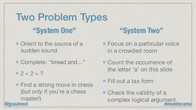 """Two Problem Types Orient to the source of a sudden sound  Complete: """"bread and…""""  2 + 2 = ?  Find a strong move in chess ..."""